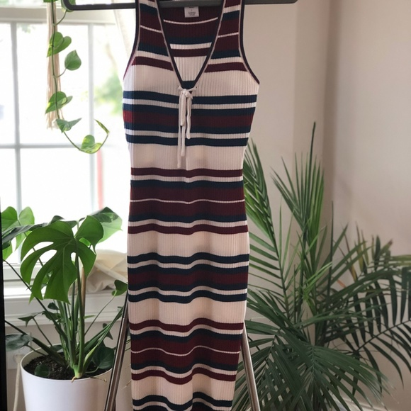 Say What? Dresses & Skirts - Ribbed Knit Midi Dress w/ Lace-Up Front